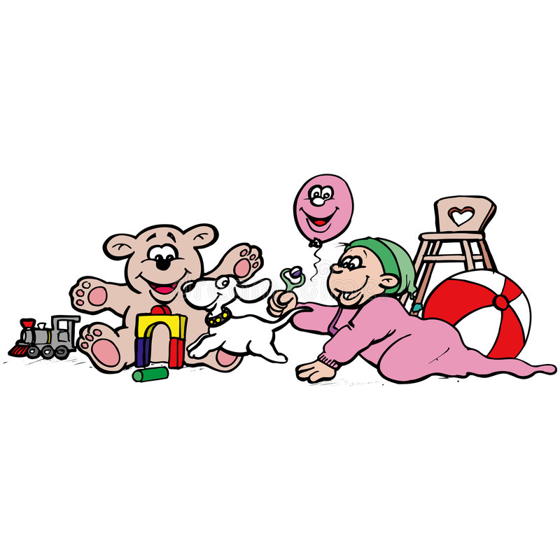 Download 婴孩 库存例证. 插画 包括有 小组, 工作, 烧焦, 作用, 孩子, 滑稽, 漫画, 小狗, 竹子, 女用连杉衬裤 - 175597