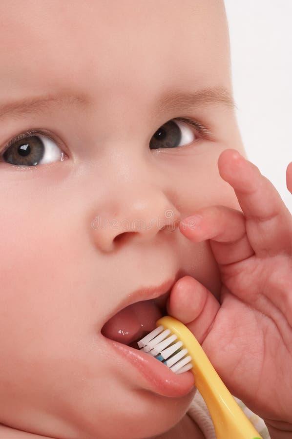 婴孩toothbrooshing4 免版税库存图片