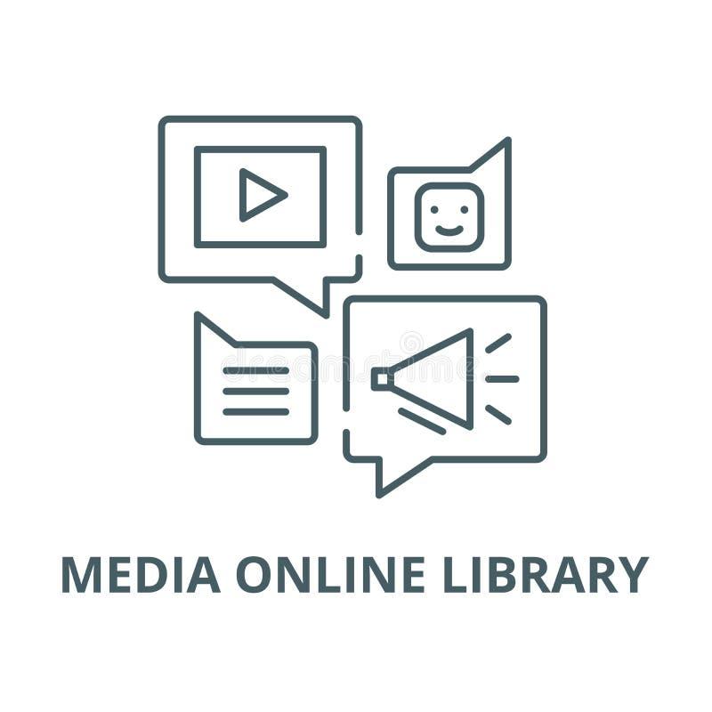 媒介网上图书馆传染媒介线象,线性概念,概述标志,标志 皇族释放例证
