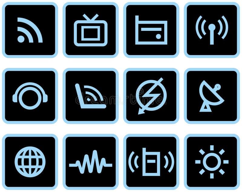 媒体&通信-被设置的向量图标 库存例证