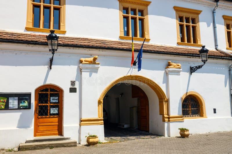 媒介的历史中心,中世纪城市在特兰西瓦尼亚,罗马尼亚 库存图片
