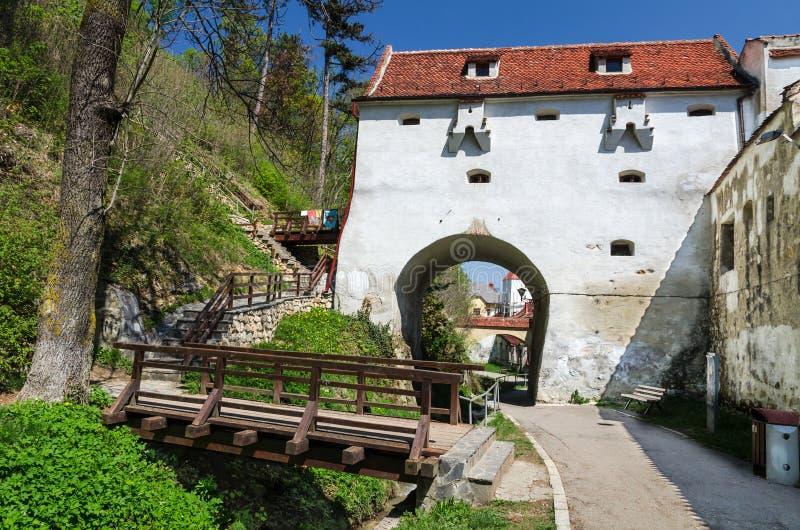 嫁接本营, Brasov中世纪市,罗马尼亚 库存图片