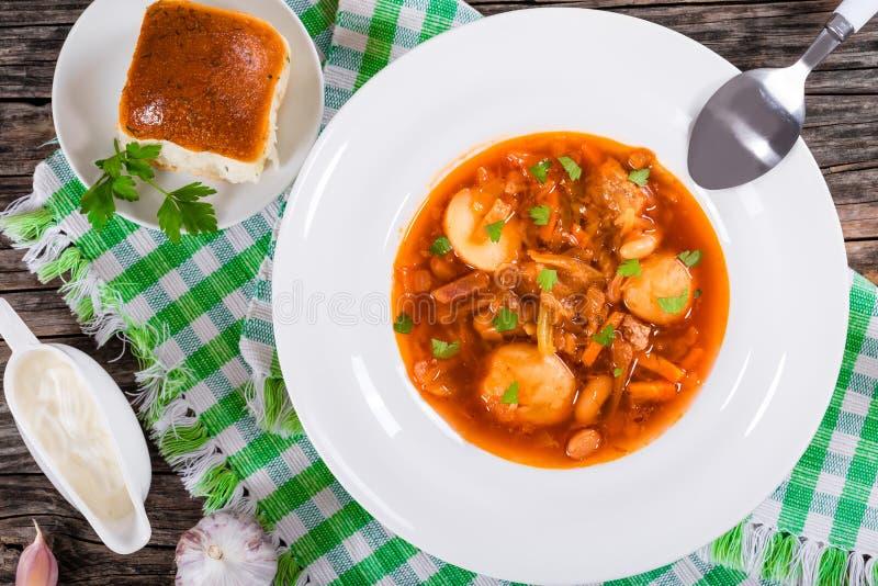 嫩土豆土豆,圆白菜,甜菜根,白豆蕃茄汤 库存照片