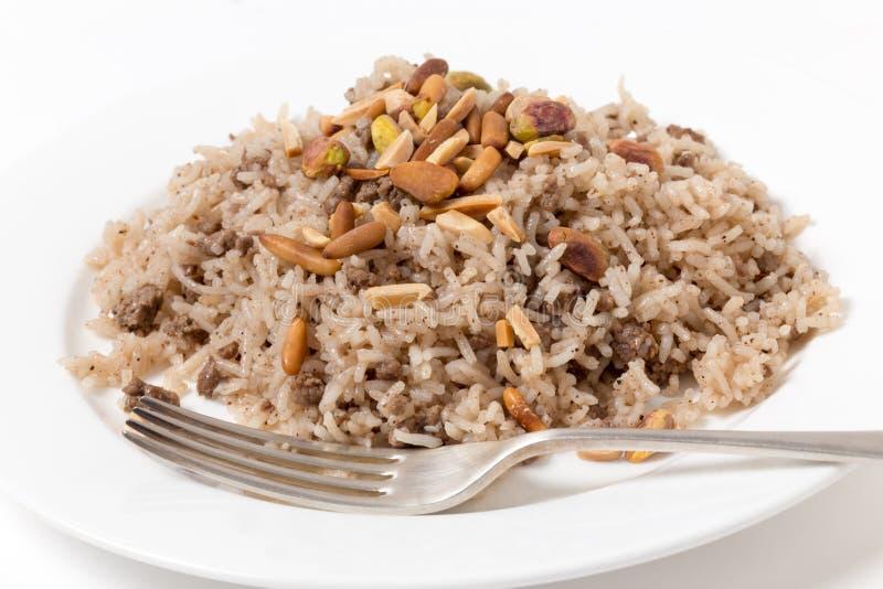黎巴嫩式加香料的米用肉 免版税库存图片