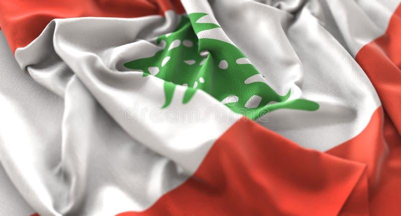 黎巴嫩旗子被翻动的美妙地挥动的宏观特写镜头射击 库存照片