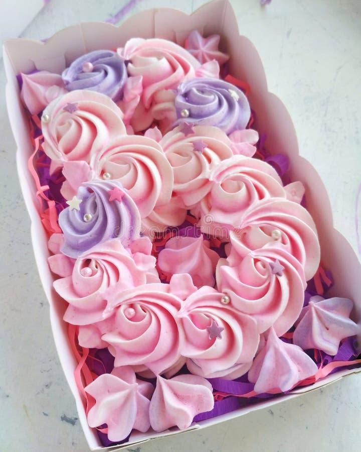 嫩桃红色和紫色beze 免版税图库摄影