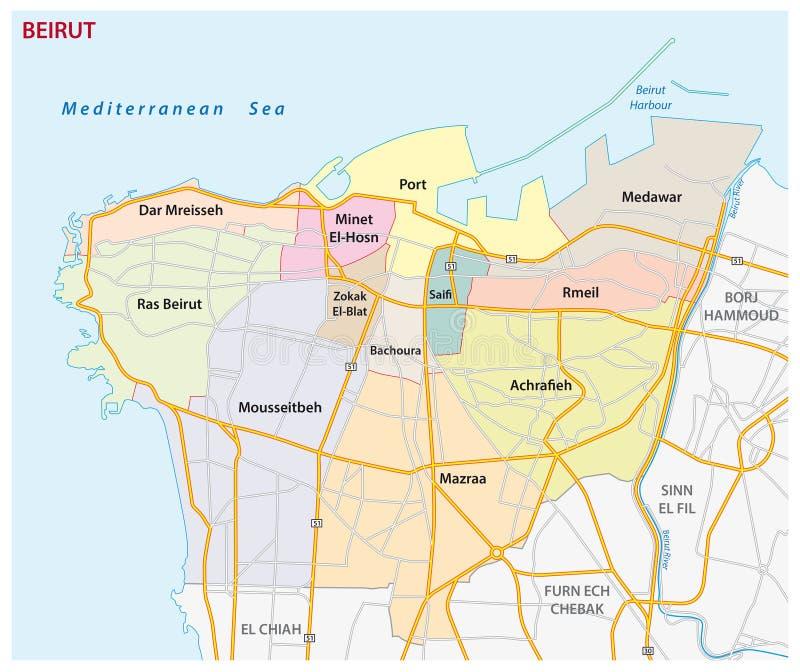 黎巴嫩首都贝鲁特的路,行政和政治地图 向量例证