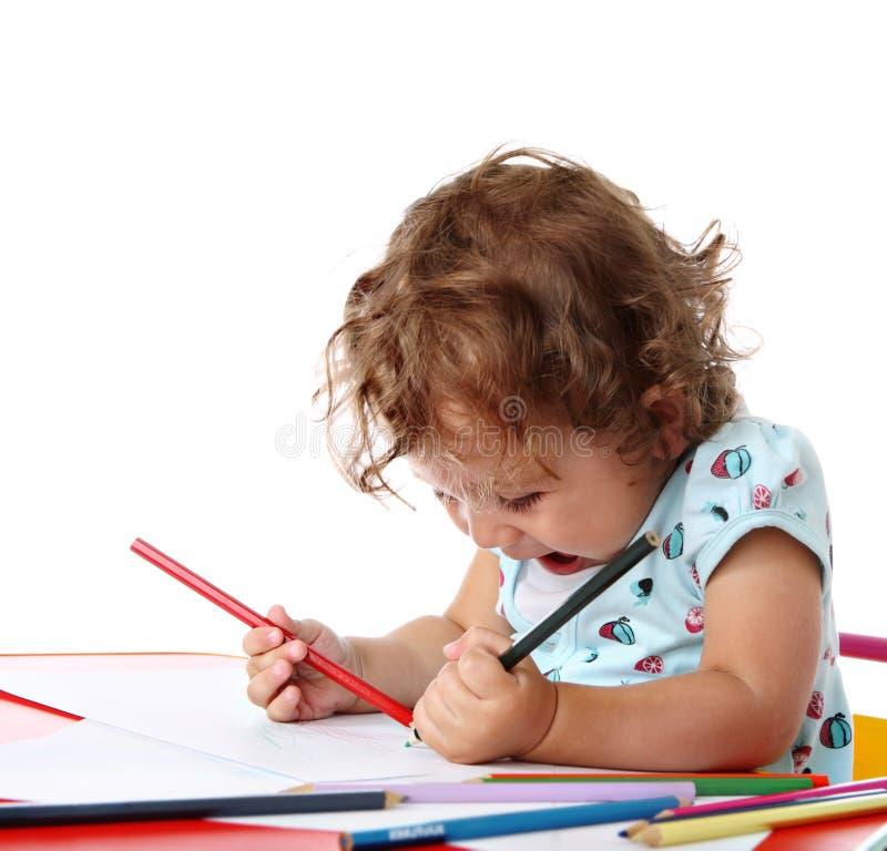 嬉戏儿童的绘画 免版税库存照片