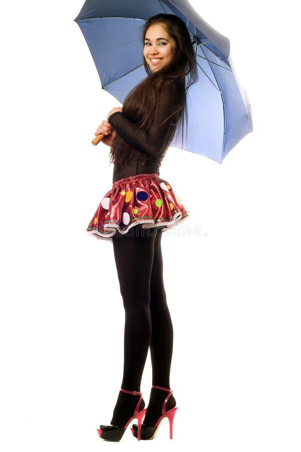 嬉戏的伞妇女年轻人 库存照片
