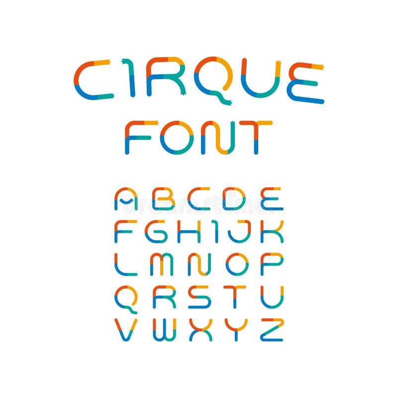 E 嬉戏的字母表 现代传染媒介滑稽的字体 向量例证