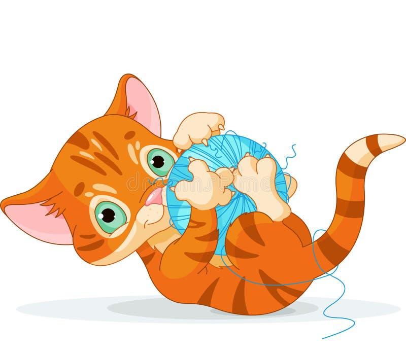 嬉戏的桶状的小猫 库存例证