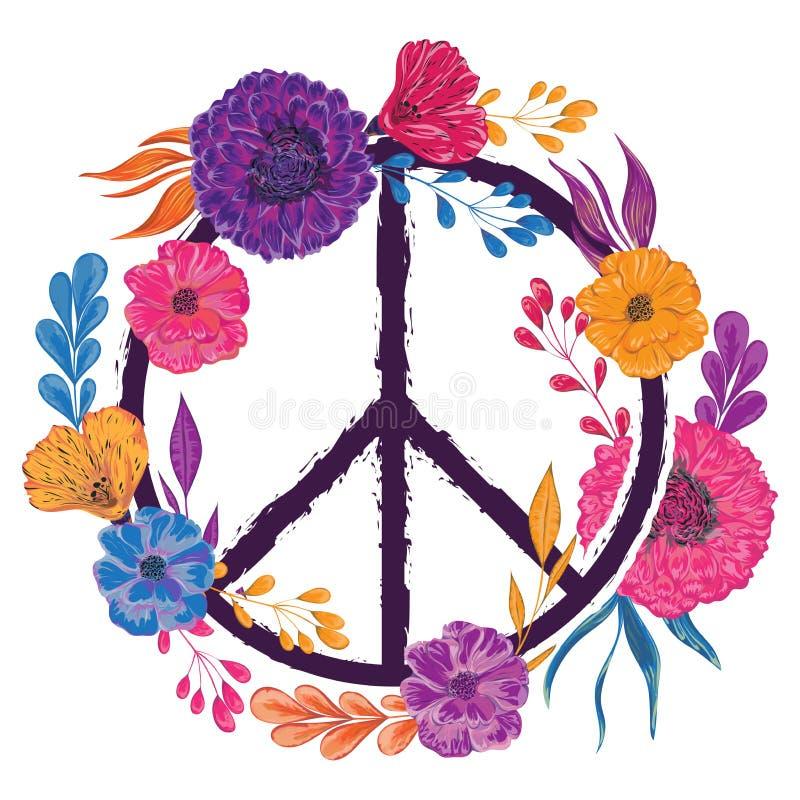 嬉皮与花、叶子和芽的和平标志 汇集装饰花卉设计元素 库存例证