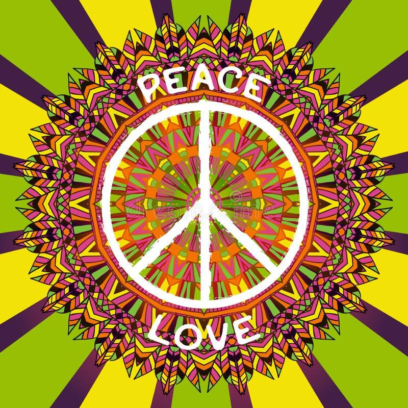 嬉皮和平标志 和平和爱在华丽五颜六色的坛场背景签字 库存例证