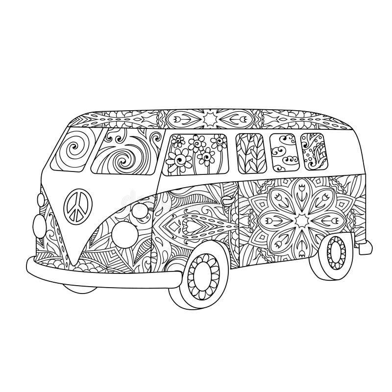 嬉皮成人或儿童彩图的葡萄酒公共汽车 库存例证