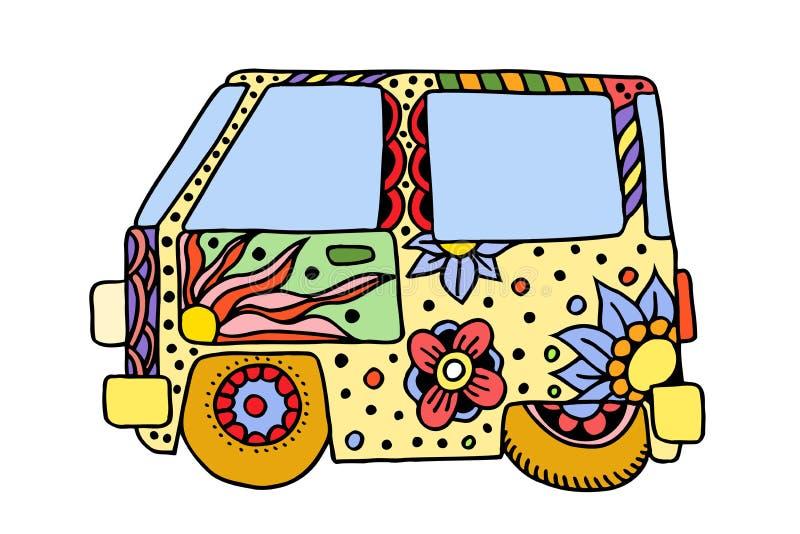 嬉皮葡萄酒汽车一辆微型搬运车 向量例证