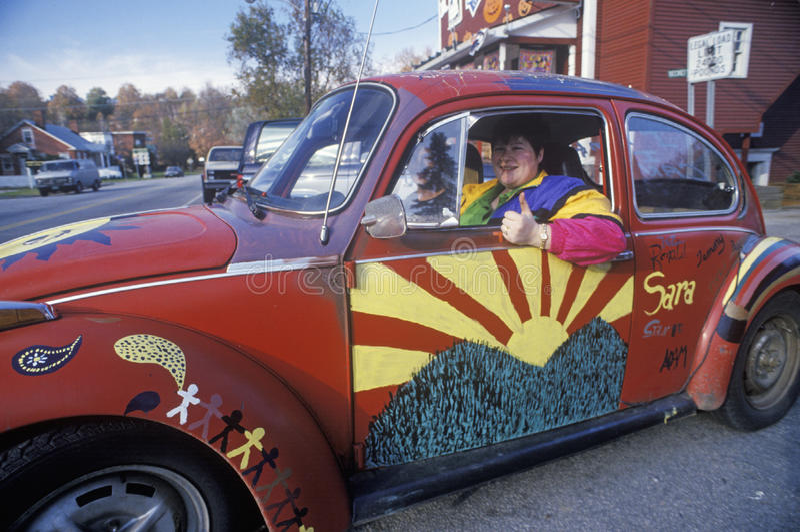 嬉皮VW在Williamstown,佛蒙特 免版税库存图片