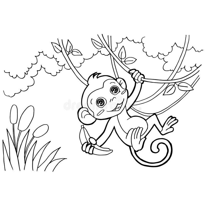 猴子动画片着色呼叫传染媒介 库存例证