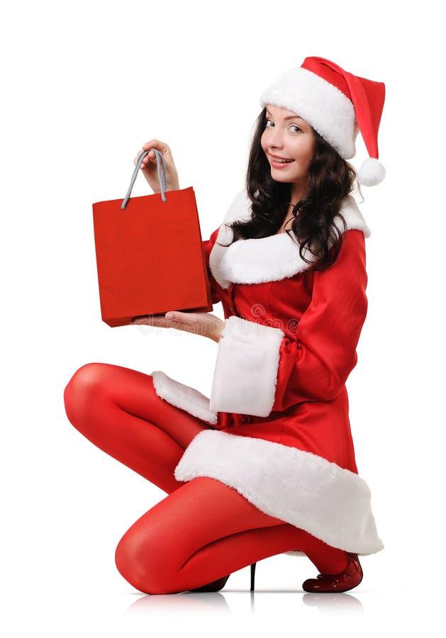 子句服装女孩圣诞老人年轻人 免版税图库摄影