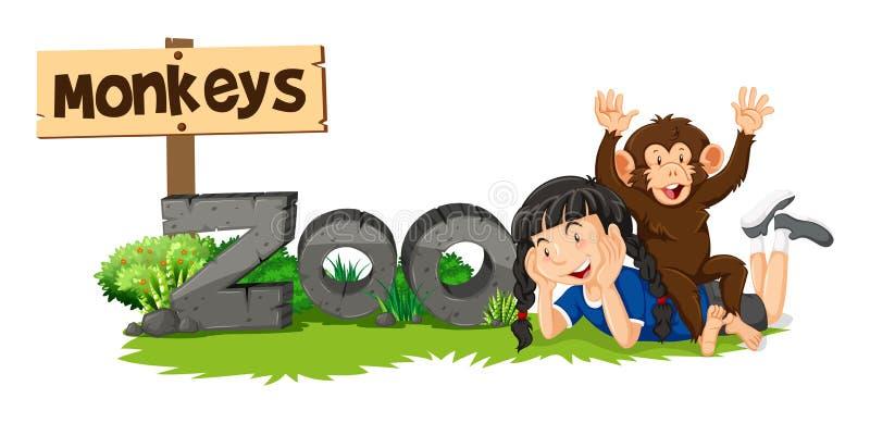 猴子和女孩由动物园标志 库存例证
