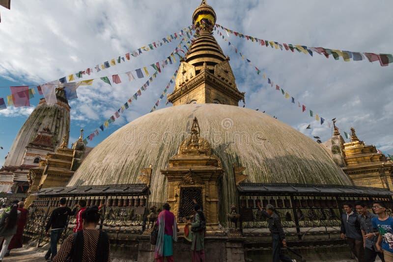 猴子寺庙,加德满都,尼泊尔 免版税库存图片