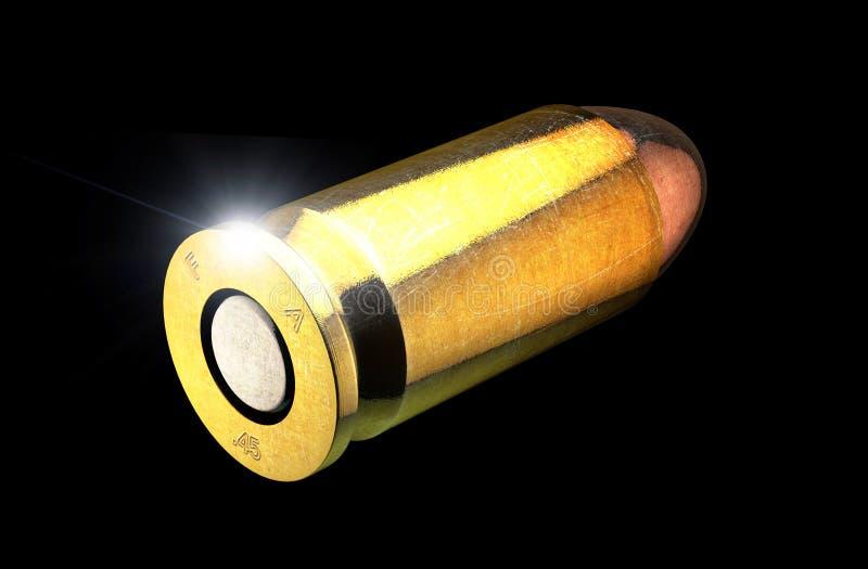 子弹和火器的弹壳,45mm 在黑背景的枪弹药 库存例证