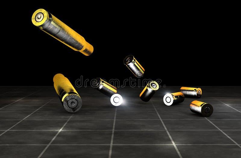 子弹和火器的弹壳 在黑背景的枪弹药 皇族释放例证
