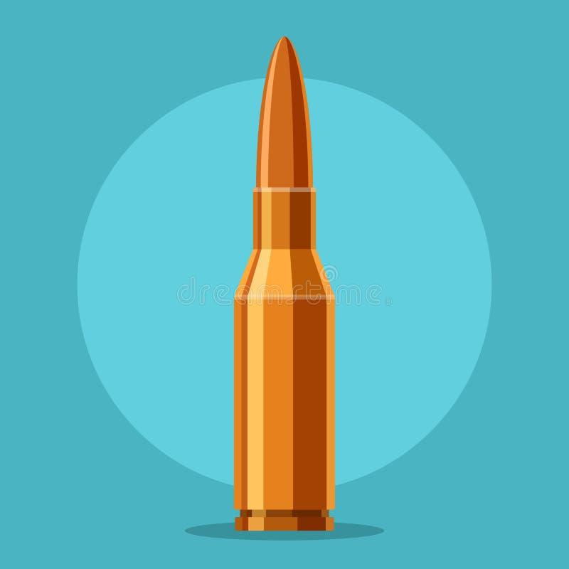 子弹在蓝色背景在平的样式的步枪象隔绝的 弹药筒武器弹药动画片 向量 库存例证