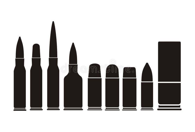 子弹类型-剪影 库存例证