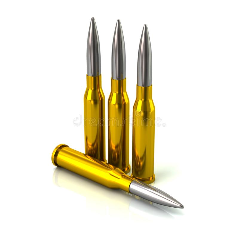 子弹3d例证 库存例证