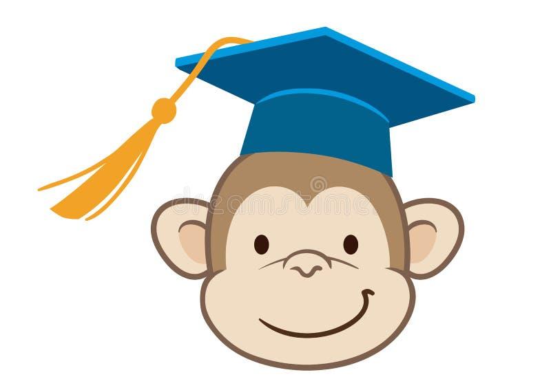 猴子毕业生动画片画象 向量例证