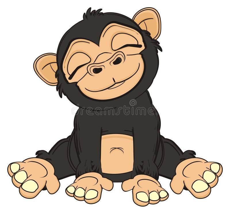 黑猴子睡眠 库存例证