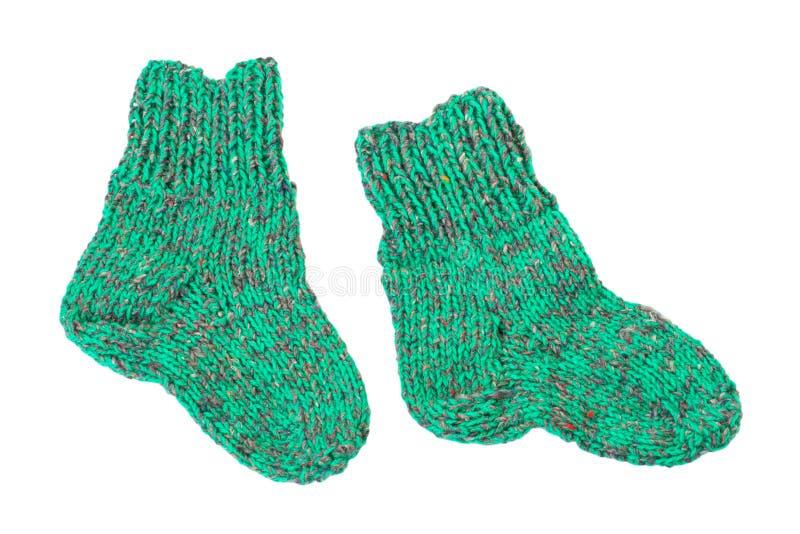 子项编织了小的袜子 免版税库存照片