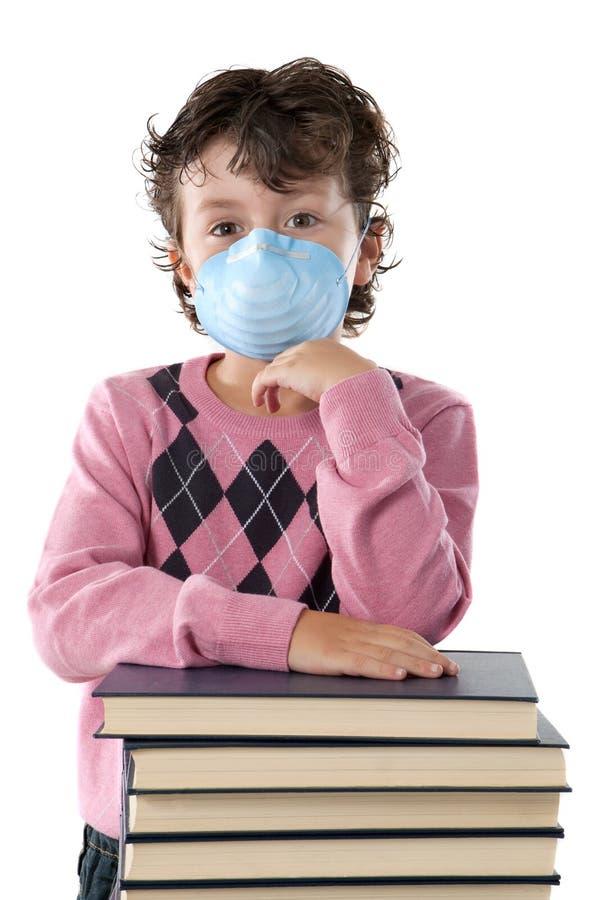 子项被传染的流行性感冒学员 库存照片