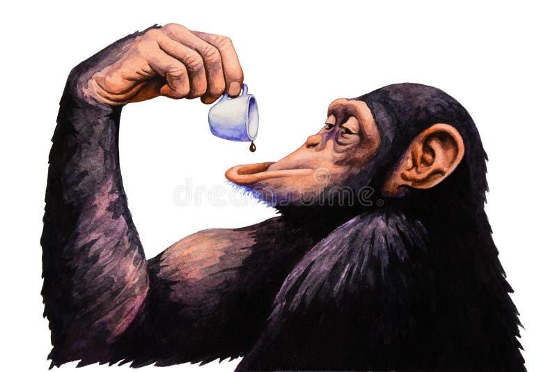 猴子饮料每咖啡 额嘴装饰飞行例证图象其纸部分燕子水彩 库存例证