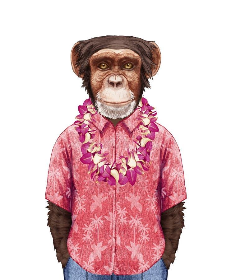 猴子画象在夏天衬衣的有夏威夷列伊的 向量例证