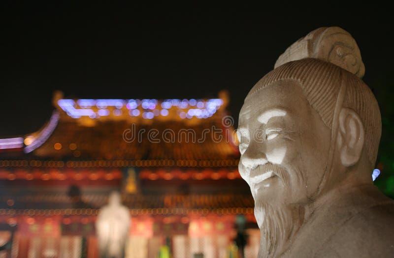 孔子雕象寺庙 免版税图库摄影