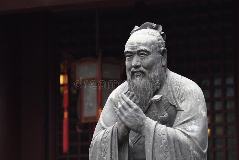 孔子雕象 免版税库存照片