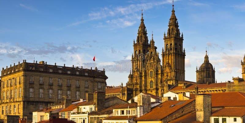 孔波斯特拉的圣地牙哥大教堂加利西亚西班牙 免版税库存照片