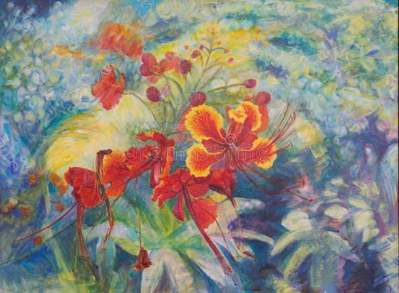 孔雀在帆布的花绘画 库存例证