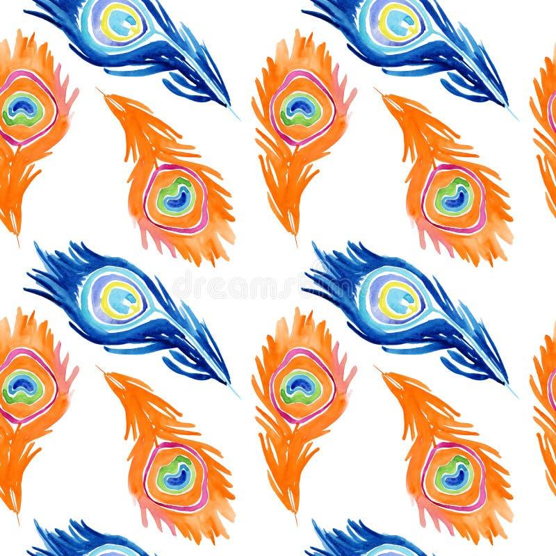 孔雀样式 无缝的水彩背景 库存例证