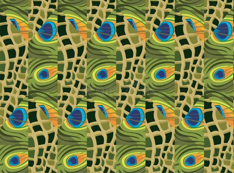孔雀羽毛抽象无缝的背景由蛇皮做的 库存例证
