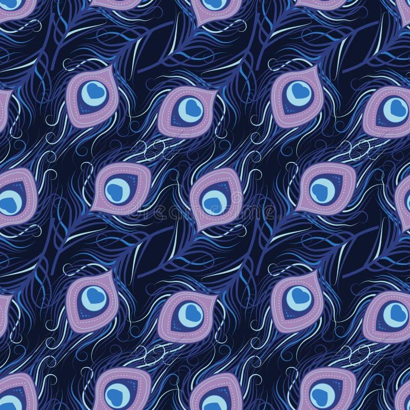 孔雀羽毛的无缝的样式 皇族释放例证