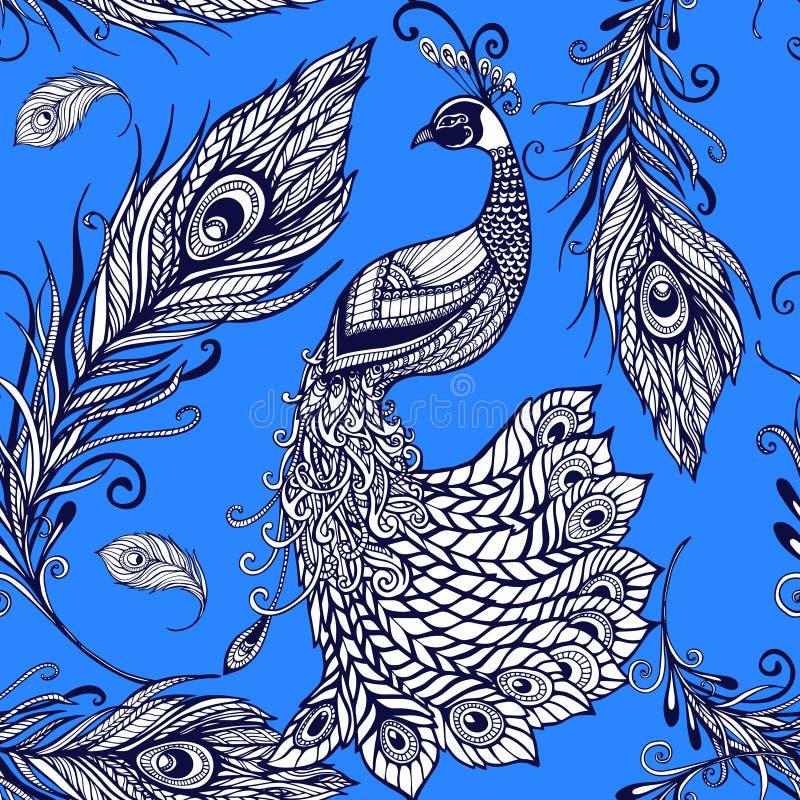 孔雀鸟羽毛无缝的背景样式 向量例证
