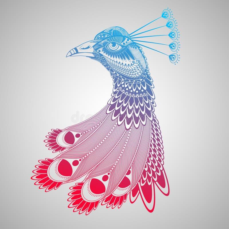 孔雀头的装饰例证 免版税库存图片