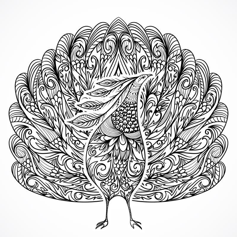 孔雀 葡萄酒与装饰品的幻想鸟 皇族释放例证