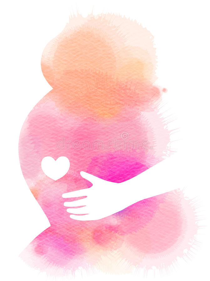 孕妇剪影加上抽象水彩 abstact艺术深深数字式红色转动 向量例证