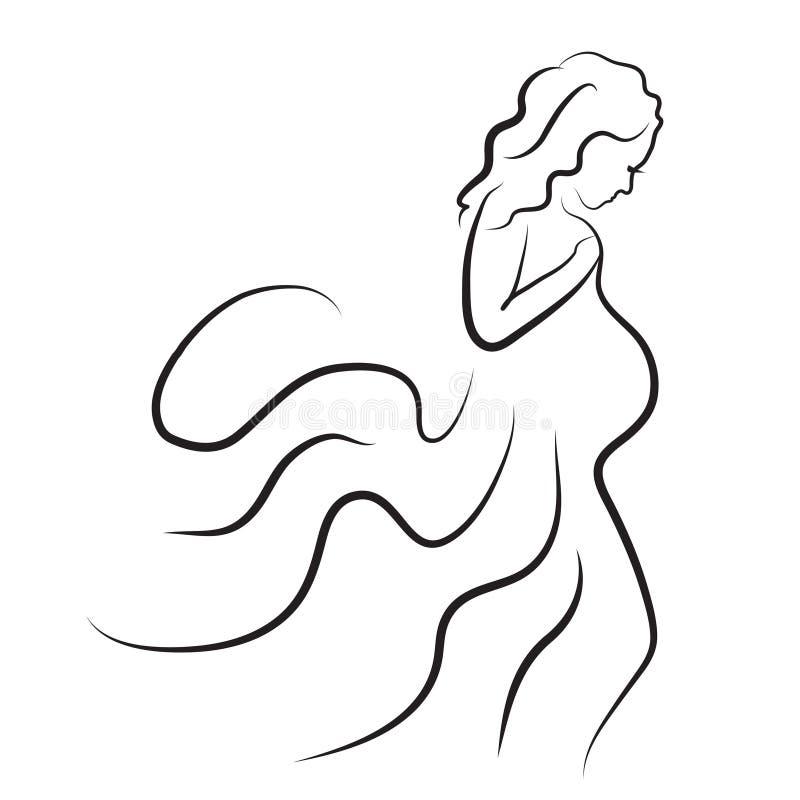 子干怀孕了�y.��.�9.ly/)�l#�+_download 孕妇剪影,传染媒介标志 向量例证.