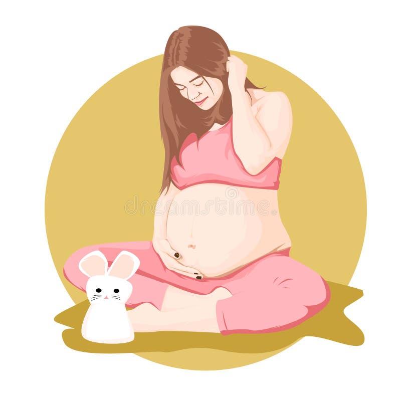 孕妇动画片 皇族释放例证