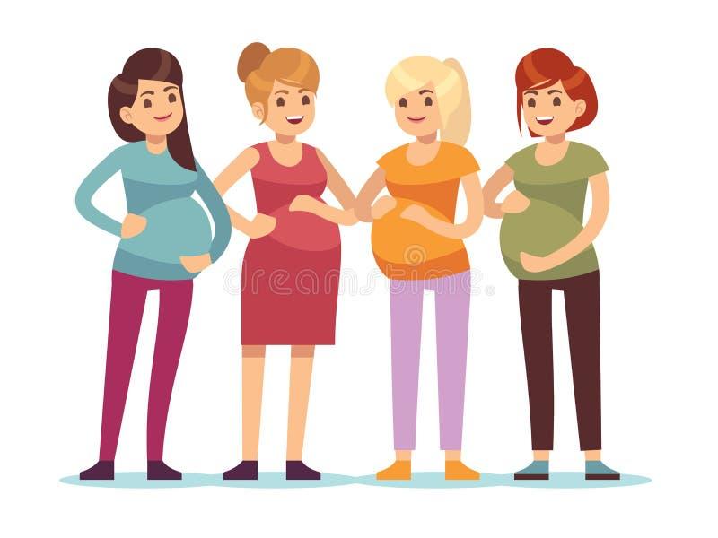 孕妇小组 未来母亲预期诞生婴孩,有大腹部的友谊愉快的妇女母亲 r 向量例证