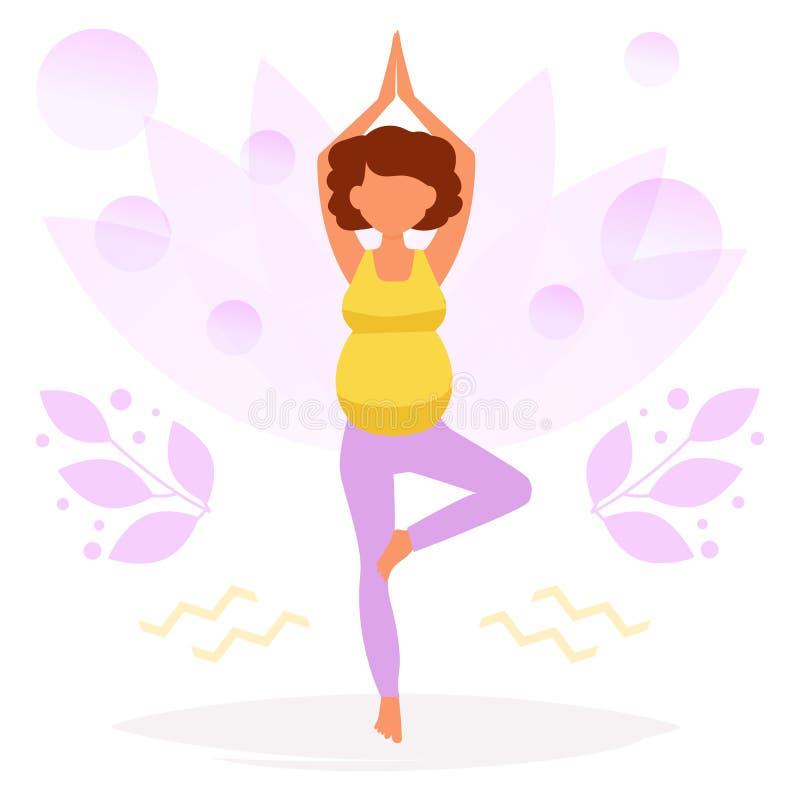 孕妇的瑜伽 向量例证